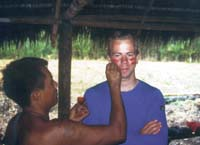 Receiving a Shaur Indian face painting