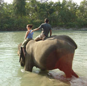Playing with the locals in Nepal's Chitwan National Park