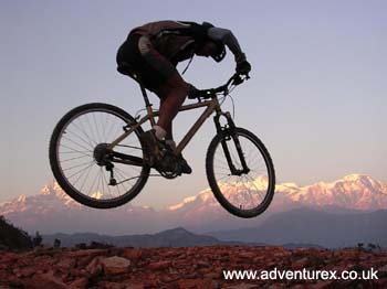 mountain biking in the Himalayas